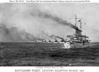 Connecticut leading the other 15 battleships out of Hampton Roads, beginning of cruise, 16 December 1907.