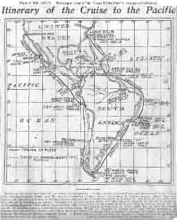 Chart from newspaper showing route to be taken by the fleet from their December 1907 departure from Hampton Roads, Virginia, until their planned arrival at San Francisco, California, in the spring of 1908. Text below the chart indicates it was published mid-December 1907.