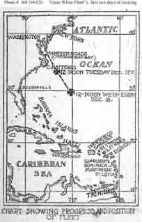 Chart from newspaper showing the movements of the fleet during the first two days of cruising after departure from Hampton Roads, Virginia.