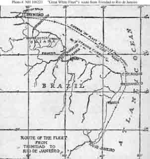Chart from newspaper showing the route of the fleet battleships from their 29 January 1907 departure from Trinidad until their arrival at Rio de Janeiro, Brazil, on 12 January 1908. It emphasizes the offshore course taken to avoid strong westerly currents off the northeastern coast of South America.