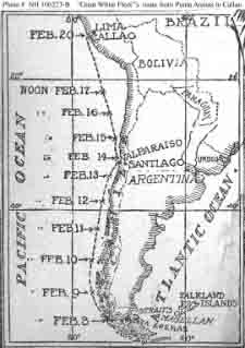 Chart from newspaper showing the movements of the fleet battleships from their 8 February 1908 passage of the western part of the Straits of Magellan until their arrival at Callao, Peru, on 20 February 1908.