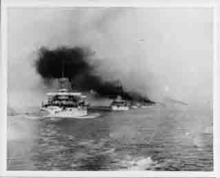 Great White Fleet battleships steaming out of Hampton Roads, Virginia, at start of cruise, 16 December 1907.