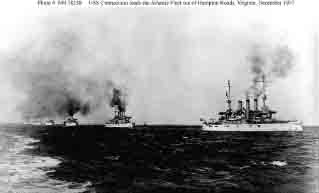 Connecticut at right leads the Atlantic Fleet out of Hampton Roads, Virginia, at start of world cruise, December 1907.