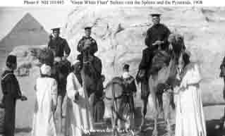 Sailors at base of Sphinx during fleet's visit to Egypt, circa 4 January 1909.