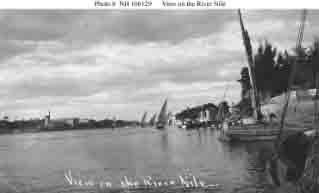 View of the River Nile, Egypt, during sightseeing tour for Sailors at the time of fleet's January 1909 Suez Canal transit.
