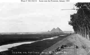 The Pyramids at Giza, seen from railroad car line during sightseeing tour for some of the fleet's Sailors, January 1909.