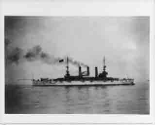 One of the Atlantic Fleet's battleships returns to United States after world cruise, circa 22 February 1909.