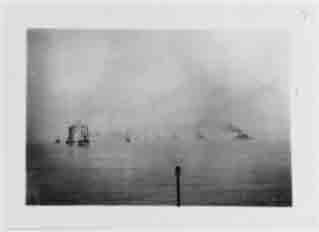 Fleet battleships steam into Hampton Roads, Virginia, at conclusion of voyage around the world, 22 February 1909. Ship nearest camera at left is Dolphin, with members of Congress embarked.