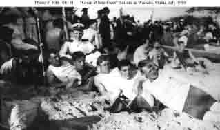 Race boat crew from one of the fleet's battleships, Waikiki Beach, Oahu, Hawaii, 19 July 1908.