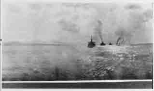 Fleet battleships passing Pago Pago, Samoa, during voyage from Hawaii to New Zealand, 1  August 1908.