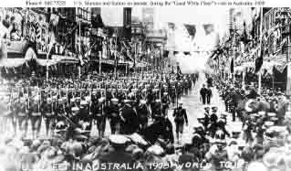 U.S. Marines and Sailors parade in Australia during fleet's visit there in August-September 1908.