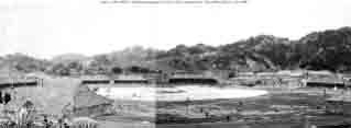 Panoramic view (made from two photos) of entertainment facility halls and grounds erected by Chinese government for use during fleet's visit to Amoy, China, late October and November 1908.