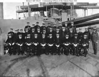 Atlantic Fleet senior commanders, staff officers, and ship commanding officers, during or shortly after Great White Fleet's world cruise.