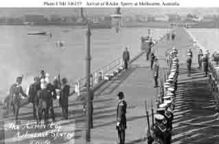 Local military and naval officers greet fleet's commander in chief, Rear Admiral Charles S. Sperry (at left, second from left) as he arrives at St. Kilda, near Melbourne, Australia, circa late August 1908.