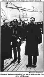 Halftone reproduction of photograph by Underwood & Underwood showing President Theodore Roosevelt (right) on board Connecticut.