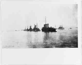 Russian ships and Connecticut (right background with white hull) off Messina to provide earthquake relief, 9 January 1909.