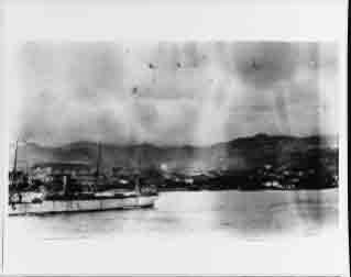 Culgoa (stores ship for Great White Fleet) at Messina, Italy, January 1909 to render assistance to earthquake victims.