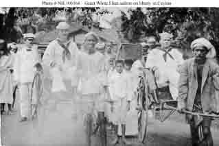 Sailors riding in rickshaws while on liberty in Ceylon (Sri Lanka), December 1908.