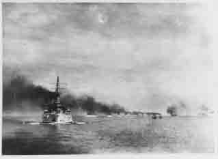 Atlantic Fleet battleships steam in column past Zamboanga Point, Philippine Islands, 30 September 1908.