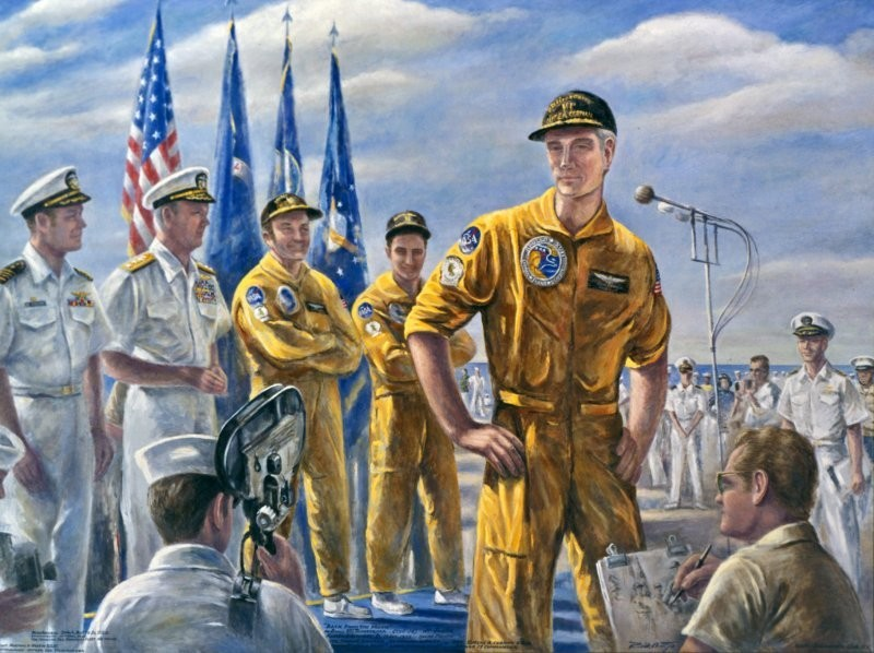This exhibit highlights all aspects of the Navy's contribution to the space program. It includes on-the-spot drawings, watercolors, and portraits of astronauts by various artists.