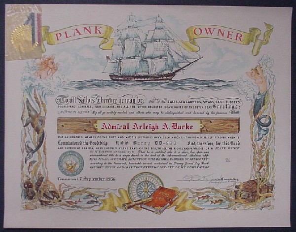 Plank Owner Certificate