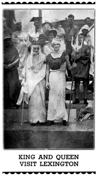 Picture of sailors dressed as the King and Queen.