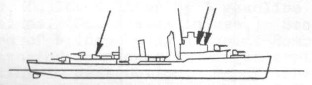 Diagram of CASSIN (DD372) depicting damaged areas