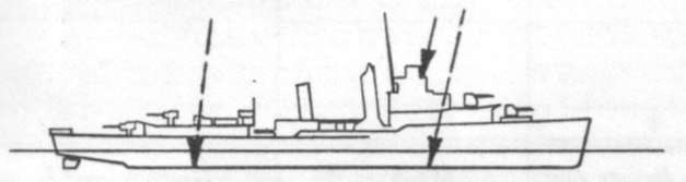 Diagram of DOWNES (DD375) depicting damaged areas