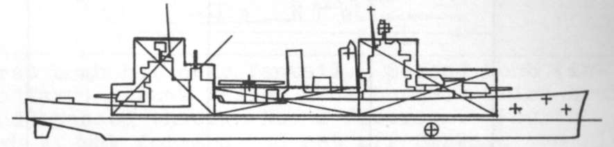 Diagram of VINCENNES (CA44) depicting damaged areas