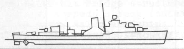 Diagram of BLUE (DD387) depicting damaged areas