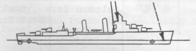 Diagram of MEREDITH (DD434) depicting damaged areas