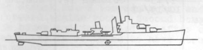 Diagram of PORTER (DD356) depicting damaged areas