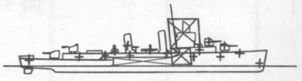 Diagram of MONSSEN (DD436) depicting damaged areas