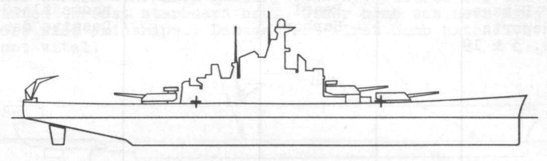 Diagram of MASSACHUSETTS (BB59) depicting damaged areas