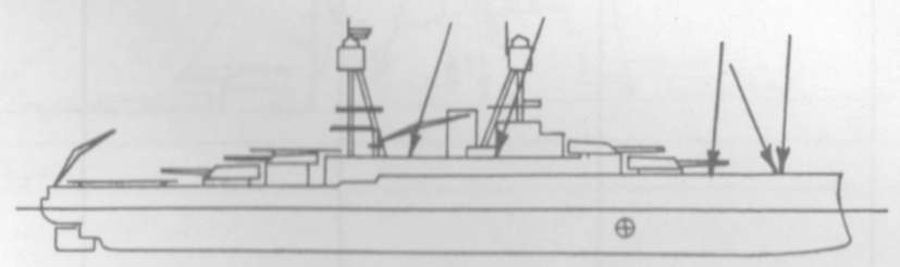 Diagram of NEVADA (BB36) depicting damaged areas
