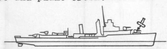 Diagram of SMITH (DD378) depicting damaged areas