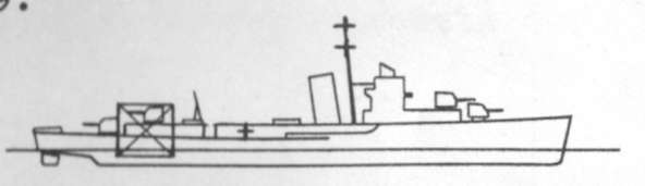 Diagram of STERETT (DD407) depicting damaged areas