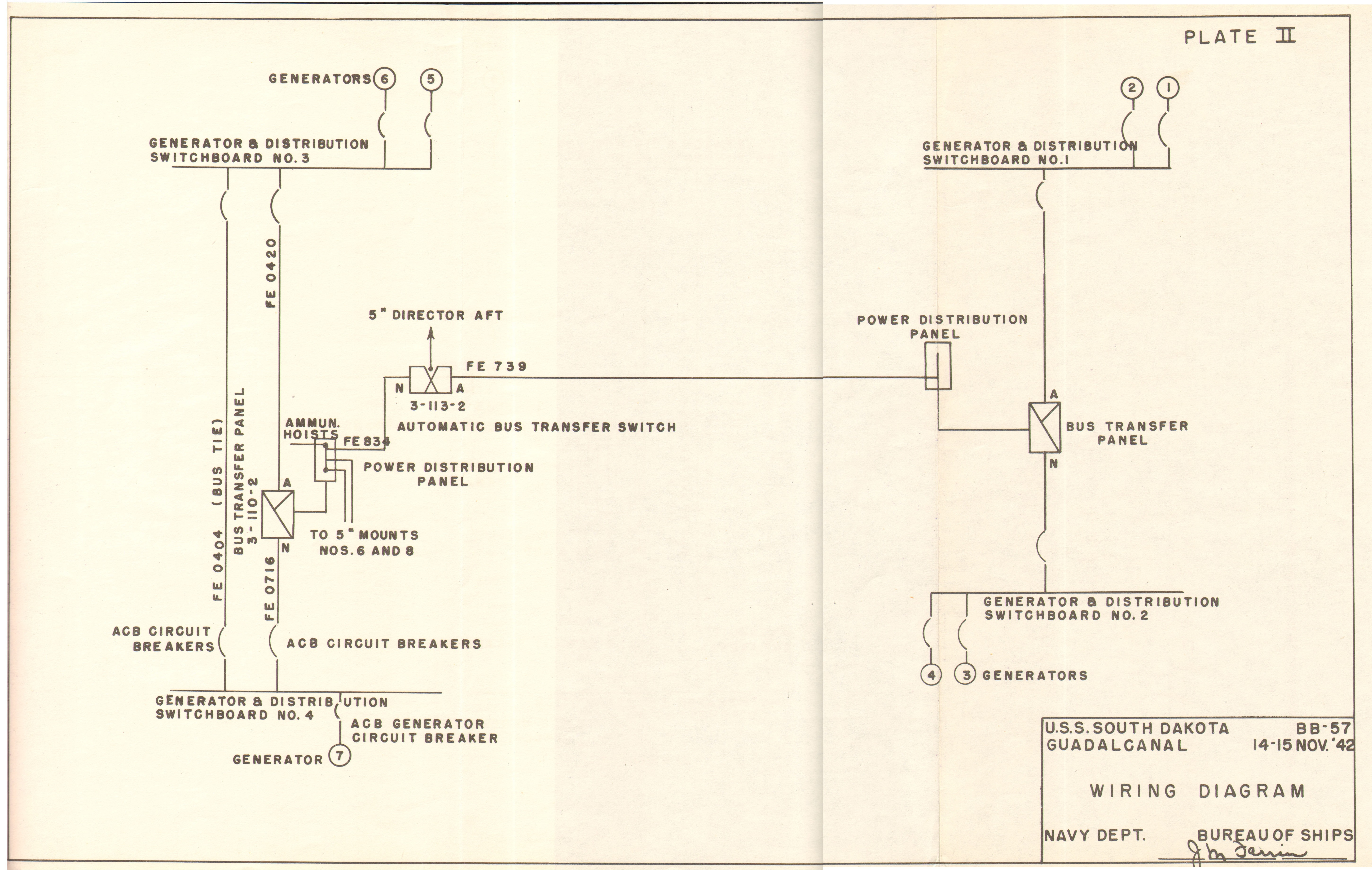 Uss South Dakota Bb57 War Damage Report No 57 Transfer Panel Wiring Diagram Click Here For A Larger Version Of This Plate