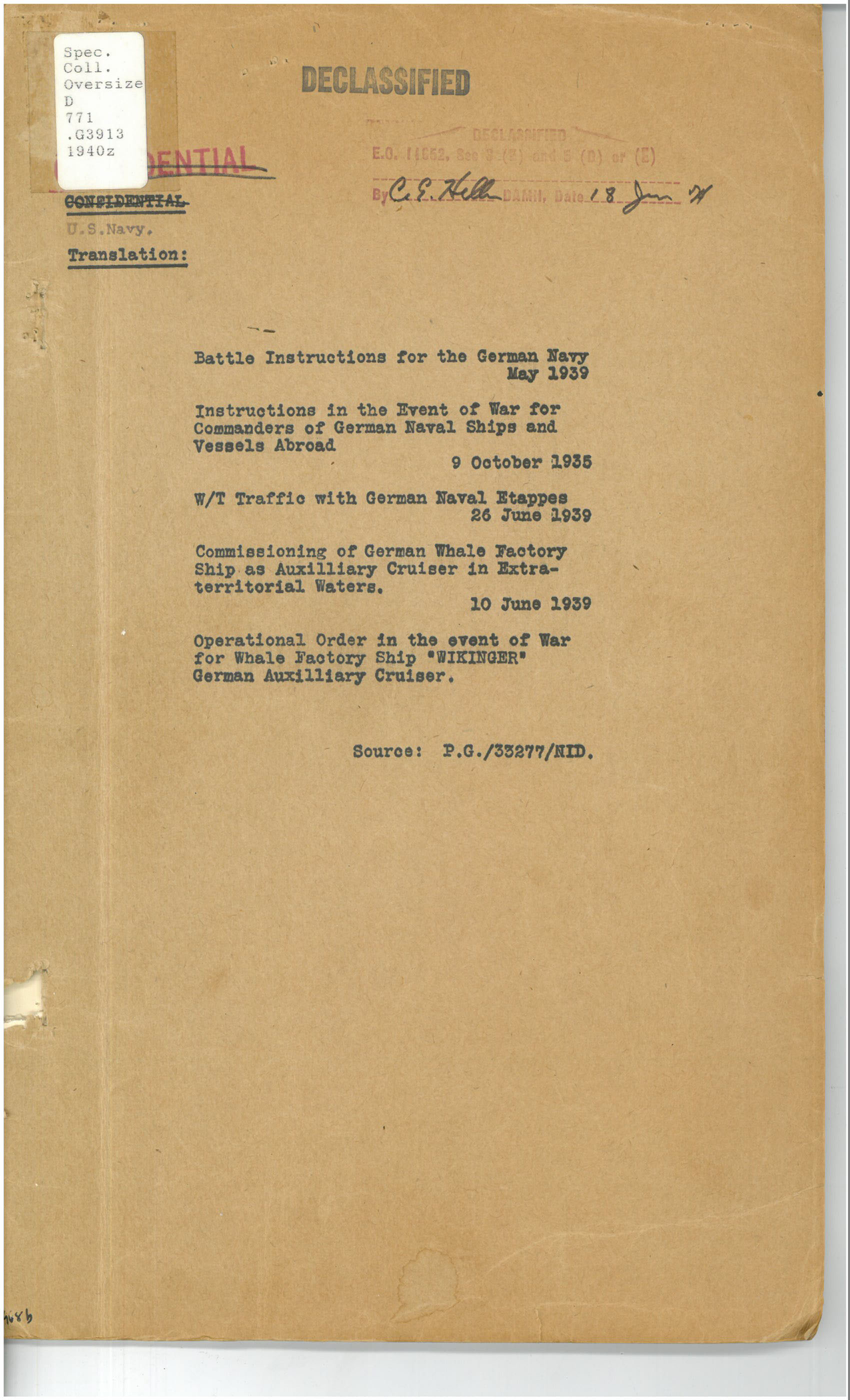 Battle Instructions For The German Navy