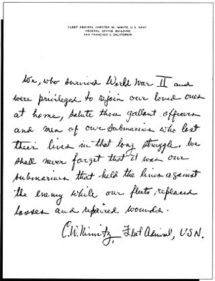 Image of Fleet Admieral Chester W. Nimitz's letter.