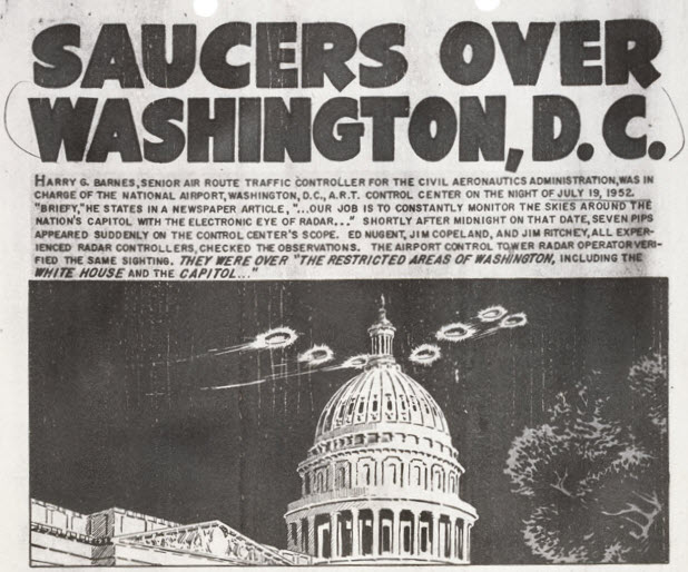 Image courtesy of the National Archives and Records Administration, ARC Identifier: 595553. Saucers over Washington, DC