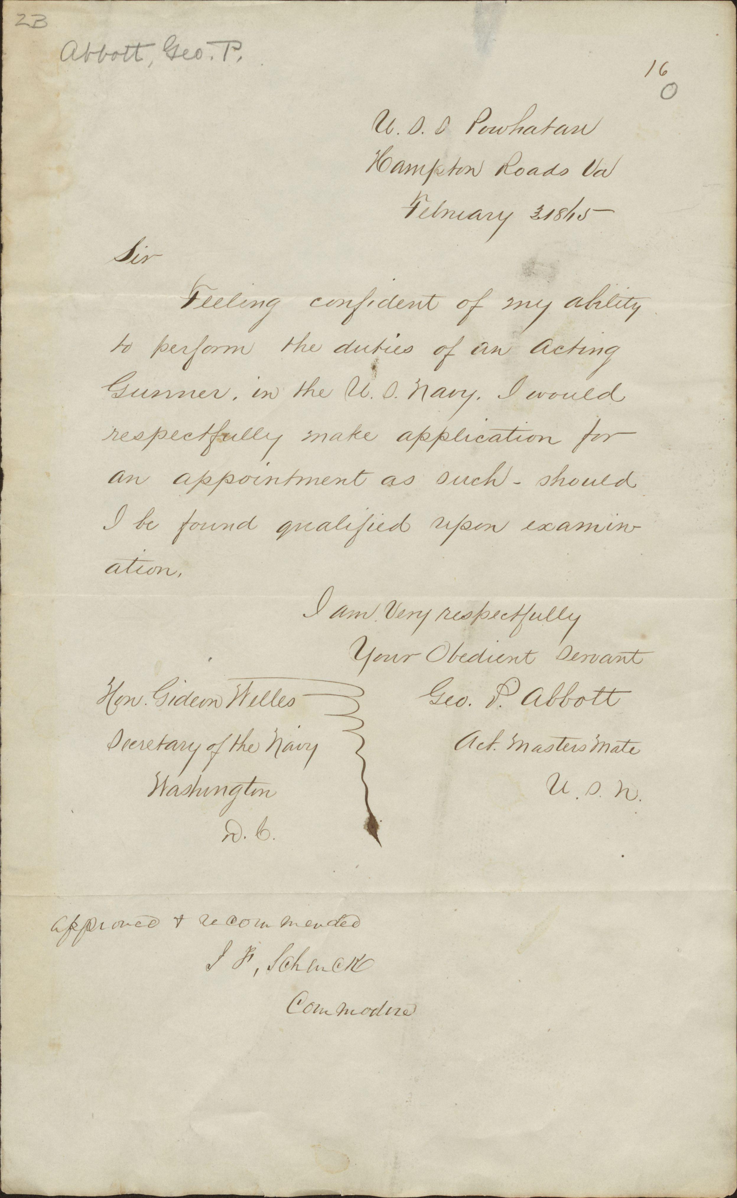 Abbott, George - Letter to Gideon Welles 1815