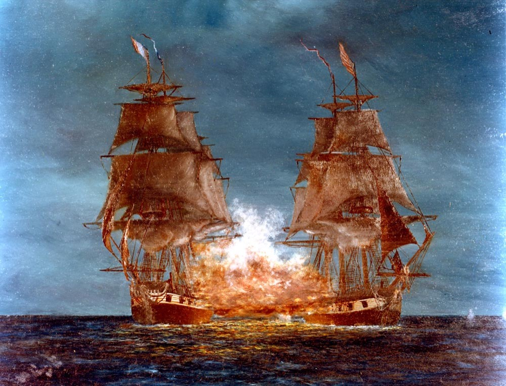 Quasi-War with France, 1798-1800. USS Constellation vs. French frigate la Vengeance, off West Indies, February 1, 1800. Artwork by Arthur N. Disney, Sr.