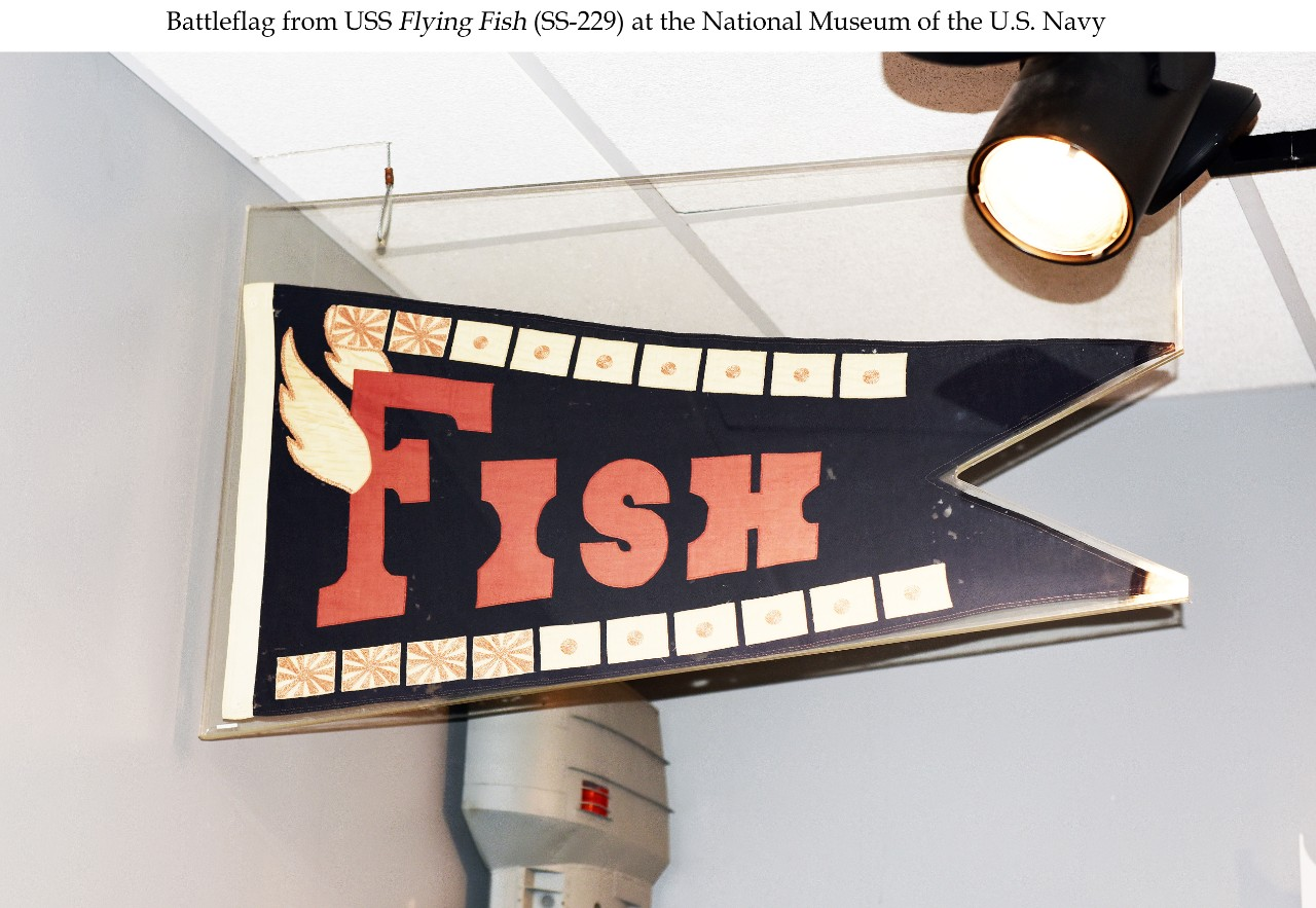 The word FISH with wings on the F. Showing 6 warship and 13 merchant vessels kills