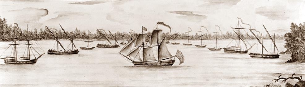 "NH 92864:   ""A Sketch of the New England Armed Vessels, in Valcure Bay on Lake Champlain as seen in the morning of October 11, 1776.   Artwork by C. Randle.   NHHC Photograph Collection."