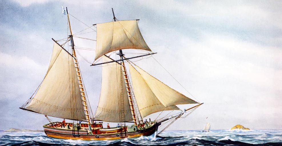 Schooner Hannah.  Artwork by John F. Leavitt.  Original painting was donated by Mr. Reynolds Girdler to USS Glover (AGDE-1).  John Glover was of Marblehead, Massachusetts and was owner of Hannah.  She was the first armed vessel fitted out and in the service of the United States, September 1775.   Courtesy of the Navy Art Collection, NH 51097-KN (Color).