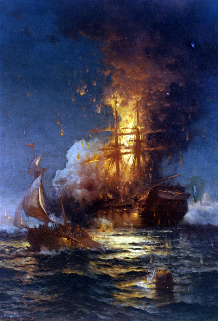 """KN 10849 (Color):   Burning of the Frigate Philadelphia in the Harbor of Tripoli, February 16, 1804"""".  Oil on canvas, 60"""" by 42"""", by Edward Moran (1829-1901), signed and dated by the artist, 1897.  It depicts USS Philadelphia, previously captured by the Tripolitans, ablaze after she was boarded and set afire by a party from the ketch Intrepid led by Lieutenant Stephen Decatur.  Painting in the U.S. Naval Academy Museum Collection. Gift of Paul E. Sutro, 1940."""