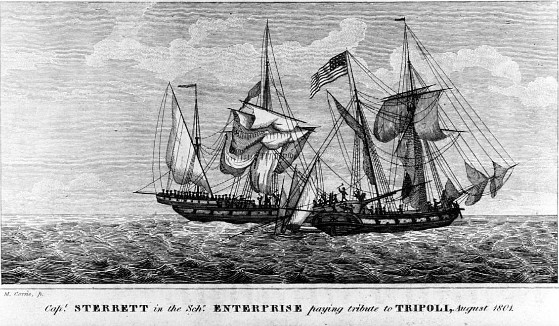 NH 56706:  USS Enterprise vs. Tripolitan Corsair Tripoli, August 1, 1801.   Line engraving by M. Corne.
