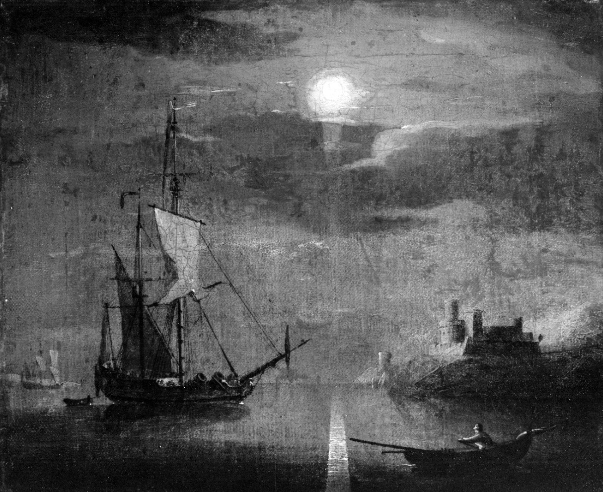 NH 53250:  U.S. Ketch Intrepid (1804).  19th Century painting by G. Brooking, depicting Intrepid off Tripoli in 1804, illuminated by moonlight.  Courtesy of Mr. J.M. Brotherhood, 1951.