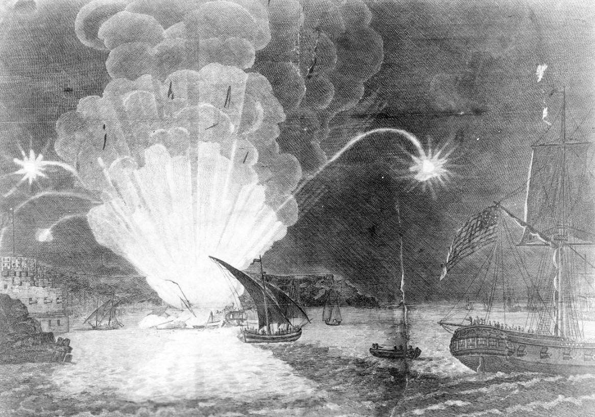 "NH 53248:  ""Blowing Up of the Fire ship Intrepid commanded by Capt. Somers in the Harbour of Tripoli on the night of the 4th Sepr. 1804""  Contemporary line engraving."